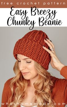 Beanie Knitting Patterns Free, Beanie Pattern Free, Easy Crochet Hat Patterns, Crochet Hat Sizing, Chunky Crochet Hat, Crochet Adult Hat, Ribbed Crochet, Crochet Winter Hats, Crochet Beanie Pattern