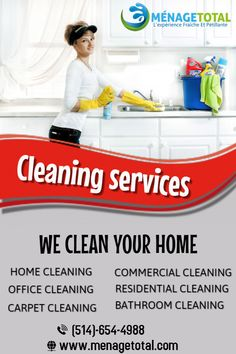 Cleaning Services Montreal company provides Commercial cleaning And Residential Cleaning In Montreal, Laval, Longueuil, South Shore And North Shore. Deep Cleaning Services, Residential Cleaning, Commercial, Good House, Clean House, Montreal