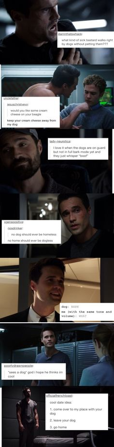 I love Ward, even though he is HYDRA now and alien thing. But omfg, Ward +Dog is just the laugh i needed