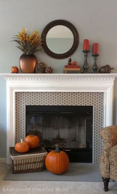 East Coast Creative: Traditional Fall Mantle DIY.  Stenciled fireplace. Faux Tile Fireplace.  DIY Fireplace makeover.  How to Style a Mantle.