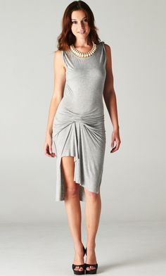 Ruched Uneven Grey Dress