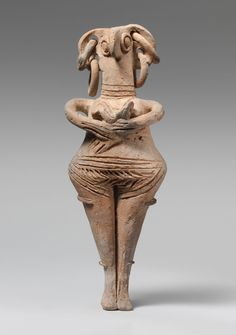 Terracotta statuette of woman with bird face  Period: Late Cypriot II Date: ca. 1450–1200 B.C. Culture: Cypriot Medium: Terracotta; hand-made Dimensions: H. 8 3/16 in. (20.80 cm)