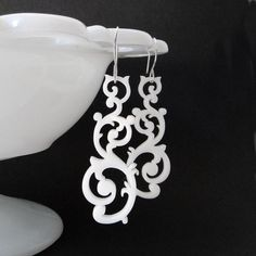 Swirl Earrings in white by Isette on Etsy