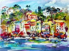 Portofino Italian Riviera Travel Italy Watercolor and Ink , Watercolor and Ink - Ginette Fine Art, The Art of Ginette Callaway  - 4