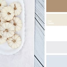 """""""dusty"""" beige, beige, bluish color, brown, color combination in interior, cream, gentle color solution, gray, gray-blue, light gray, palette for table decor, sand brown, shades of silver, White Color Palettes, yellow beige."""