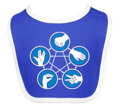 ThinkGeek :: Rock Paper Scissors Lizard Spock Bib: They all beat 2 and are beaten by 2. Awesome!