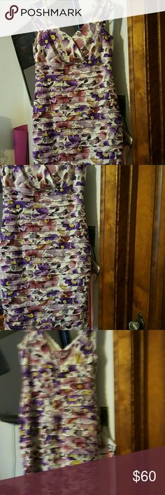 SALE NOW$30WAS$60 ,BUETIFUL COLORFUL FLOWER DRESS VERY NICE  ON YOUR SKIN SEXY  FEEL  POLYESTER  & SPANDEX  used only twice😍 London Times Dresses Midi