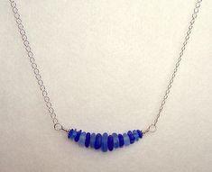 Genuine Sea Glass Necklace Cobalt Blue Cornflower Blue 18 Inch Beach Glass Jewelry