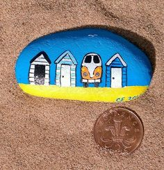 vw campervan hand painted on a river pebble art/craft