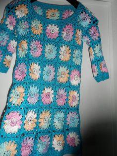 Crochet granny square tuequoise blue multicolour by krittenart