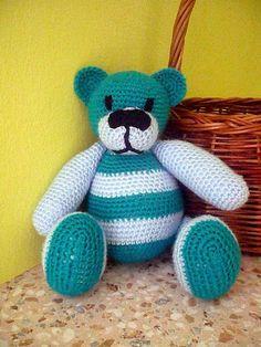 Häkeln Teddy Bär Türkis von Crochetland auf DaWanda.com