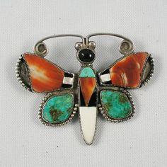 Zuni mosaic inlay butterfly pin 1930's