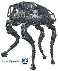 Boston Dynamics BigDog Robot Illustration - http://jamesprovost.com/portfolio/boston-dynamics-bigdog