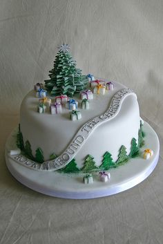 A cute fondant-covered Christmas cake