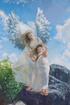 guardian angel paintings | SANDRA KUCK Guardian Angel Children art prints