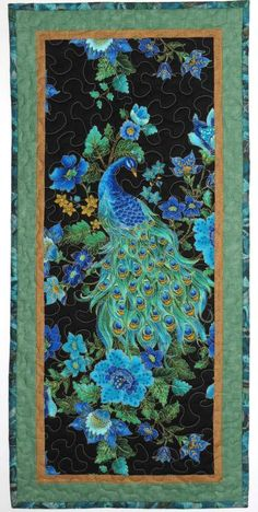Wall Hanging or Table Runner, Peacock
