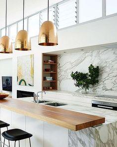 modern kitchen gold pendants