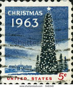 vintage white house christmas images | vintage US potage stamp from 1963 with a christmas tree and white ...