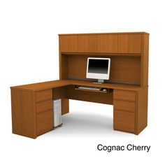 Bestar Prestige Plus L-shaped Workstation with Hutch and Dual Full Pedestals | $829.99