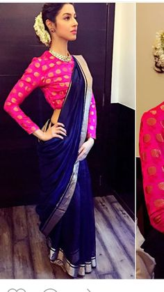 Elegant Navy Blue Chanderi Saree with Bright Pink Blouse Mehr Indian Blouse, Indian Sarees, Blouse Patterns, Saree Blouse Designs, Ethnic Fashion, Indian Fashion, Indian Dresses, Indian Outfits, Indian Engagement Outfit