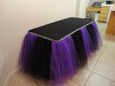 Sweet 15 Zebra Theme | Purple Black and Zebra Table Tutu Skirt on Wanelo