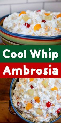 Easy Cool Whip Ambrosia Salad - Resolution Eats This recipe for Cool Whip Ambrosia Fruit Salad is about as quick as they come. If you have 6 minutes and 6 ingredients, you can mix up this simple but super delicious low calorie dessert. Fluff Desserts, Cool Whip Desserts, Jello Recipes, Yogurt Recipes, Köstliche Desserts, Delicious Desserts, Yummy Food, Fruit Salad Cool Whip, Salads