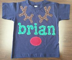 Kids Christmas Reindeer Name Shirt- Custom Size/Shirt Color/Sleeve Length - Boy Girl Reindeer Shirt, Personalized Name Shirt, Rudolph Shirt by SweetLittleJack on Etsy https://www.etsy.com/listing/257756930/kids-christmas-reindeer-name-shirt