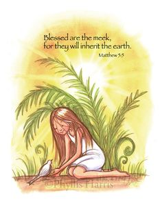 Fern Girl Wall Art for Girls - Blessed are the meek inspirational wall art