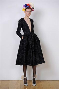 London Fashion Week 2013, Eudon Choi. Black lace dress.