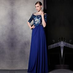 2014 Empire Sequined Scoop Floor-Length Spaghetti Straps Satin Three Quarter Prom Dresses top fasion new arrival time-limited