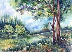 Landscape and Wildlife by AnnaArmona on deviantART ~ watercolor landscape