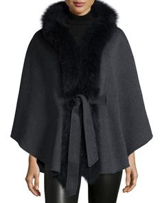 LOVE except real fur...  Neiman Marcus Cashmere Collection Fox-Trim Belted Cashmere Cape