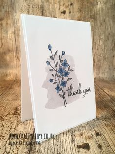 handmade thank you card ... clean and simple ... one layer ... stamped watercolor wash ... from Crafty Hippy ... Stampin' Up!