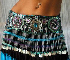 Belly dance Costume set TALIKA turquoise black by PoisonBabe