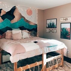 Being from Vancouver British Columbia, I am just drawn to the mountains and what a way to bring this into the comfort of your bedroom. Bold statement colors! Absolutely love! Bedroom Diy Teenager, Room Decor Bedroom, Dorm Room, Teenagers, Color Schemes, Camper, Wordpress, Dorm, Colour Schemes