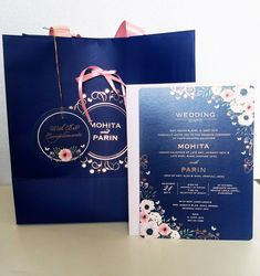 Wedding invitation set with carry bag for wedding favours Wedding Invitation Sets, Wedding Favours, Wedding Stationery, Carry Bag, Digital Invitations, Gift Bags, Florals, Studio, Winter