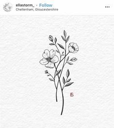 Wildflower tattoo design by Ella Storm ella . - The most creative and beautiful tattoo list Small Butterfly Tattoo, Small Flower Tattoos, Cute Small Tattoos, Butterfly Design, Delicate Flower Tattoo, Floral Tattoo Design, Design Tattoo, Flower Tattoo Designs, Mini Tattoos