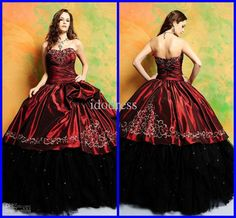 Wholesale Quinceanera Dresses - Buy Elegant Ball Gown Sweetheart Beading Rhinestone Red And Black Anke Length Quinceanera Dresses A2-47, $189.77 | DHgate without petticoat underneath