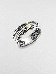 David Yurman - Sterling Silver & 18K Yellow Gold Ring
