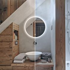 A range of round mirrors with colour temperature changing ambient LED lighting. Family Bathroom, Shades Of White, Round Mirrors, Bathroom Inspiration, White Light, Color Change, Led, Luxury, Melbourne