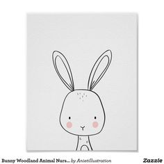 Bunny Woodland Animal Nursery art Black and white Poster ♥ A wonderful addition to your little one's nursery decor. A cute white bunny illustration. Woodland Animal Nursery, Bunny Nursery, Elephant Nursery, Woodland Animals, Nursery Art, Nursery Prints, Nursery Decor, Nursery Layout, White Nursery