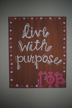 Live with purpose Sorority Canvas by thegirlsinpearls on Etsy
