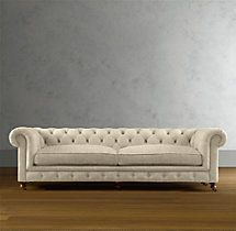 """Comes in super loooooong (163"""") Kensington Upholstered Sofa ($5895 - Army Duck, Fog, Standard Fill, Delivery $125)"""