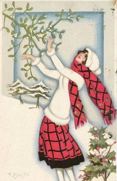 Old Christmas Post Сards — Vintage Christmas Lady (587x900)