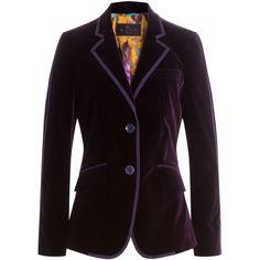 Etro Velvet Blazer (11 670 SEK) ❤ liked on Polyvore featuring outerwear, jackets, blazers, 2016 jacket, purple, red, slim fit blazer, slim blazer jacket, slim jacket and etro jacket