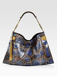 Gucci Gucci 1970 Periwinkle Python Shoulder Bag