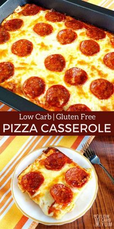 A delicious keto low carb pizza casserole that will be enjoyed by all. And, the easy to make gluten free crust is made with every day ingredients. #lowcarbpizza #ketopizza #pizzacasserole| LowCarbYum.com Pizza Casserole Low Carb, Low Carb Pizza, Low Carb Diet, Casserole Recipes, Healthy Low Carb Recipes, Ketogenic Recipes, Gluten Free Recipes, Diet Recipes, Ketogenic Diet