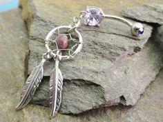Dream Catcher Belly Button Ring Jewelry Amethyst Purple Jasper Feather Navel Jewelry