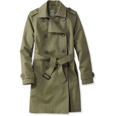 L.L.Bean Crosstown Trench Coat  Misses Petite ($129) ❤ liked on Polyvore featuring outerwear, coats, water resistant trench coat, brown coat, trench coat, brown double breasted coat and petite coats