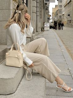 This Summer Office Look Is Perfection - Office Outfits White Heels Outfit, White Strappy Heels, Beige Outfit, Heels Outfits, Neutral Outfit, Fashion Outfits, Womens Fashion, Latest Fashion, Chic Outfits